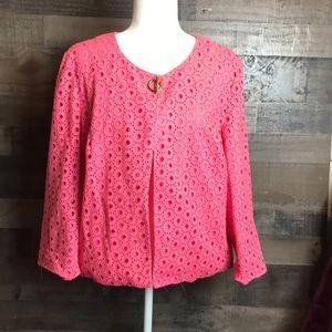 Charter Club pink eyelet jacket size XL